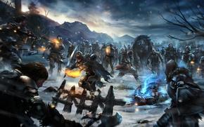 Картинка снег, оружие, огонь, магия, арт, факел, битва, нежить