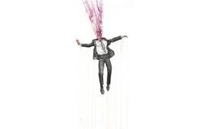 Картинка взрыв, брызги, рисунок, краска, человек, костюм, мороженое
