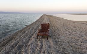 Картинка песок, река, кресло