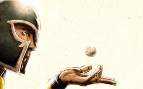 Обои лицо, рука, шарик, шлем, ладонь, супергерой, стальной, Magneto, Магнето, Marvel Comics