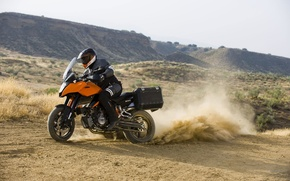 Картинка мотоцикл, шлем, KTM, 990, кофр, Supermoto T