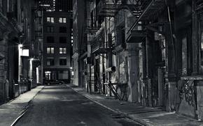 Картинка дорога, свет, дома, Улица, фонари, черно-белое