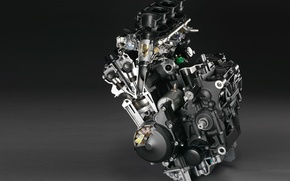 Обои серый, двигатель, мото