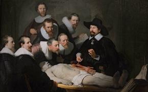 Картинка картина, доктор, Анатомия, Тульп, Рембрандт