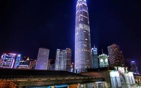 Картинка ночь, небоскреб, Гонконг