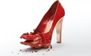 Картинка красный, фон, туфель