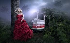 Картинка девушка, в красном, арт, фантазия, автобус, джунгли
