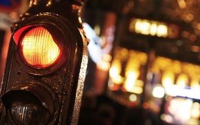 Обои макро, светофор, город, ночь