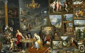 Картинка цветы, интерьер, картина, жанровая, Ян Брейгель старший, Зрение и Обоняние