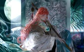 Картинка девушка, луна, растение, месяц, арт, Аниме, фрукты, рыжие волосы, Anime, королева, 12 королевств, Youko Nakajima, …