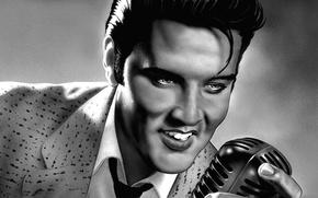 Картинка рисунок, арт, актер, микрофон, карандашом, музыкант, певец, поет, Элвис Пресли, Elvis Presley, рок-н-ролл, продюсер, rock-n-roll, …