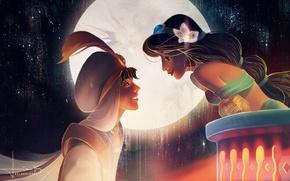 Картинка цветок, небо, девушка, улыбка, луна, арт, парень, аладдин, jasmine, aladdin, kelogsloops
