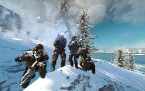 Картинка небо, ночь, оружие, солдат, Battlefield 4