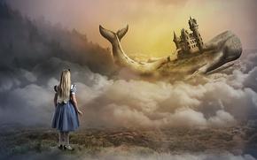 Картинка замок, кит, девочка