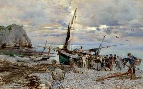 Обои картина, Джованни Больдини, Этрета, Возвращение Рыбацких Лодок, берег, люди, море, скалы, морской пейзаж