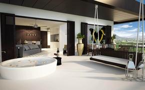 Картинка пейзаж, природа, дизайн, диван, картина, кресла, балкон, квартира, design, вазы, interior, качеля, горы., кмната, ваная, ...