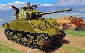 "Картинка war, art, painting, tank, ww2, M4A2 76MM ""wet"" Sherman"