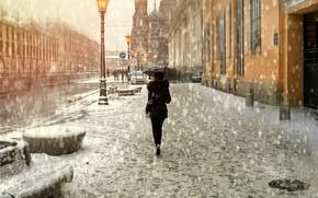 Картинка девушка, снег, зонт, Санкт-Петербург