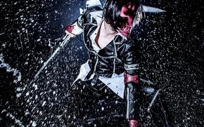 Картинка капли, брызги, дождь, игра, маска, парень, Hero Warz