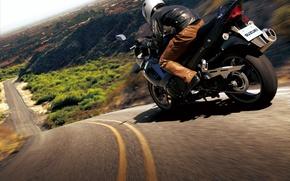 Обои дорога, мотоцикл, байк, moto, road, auto walls, slopes, hills