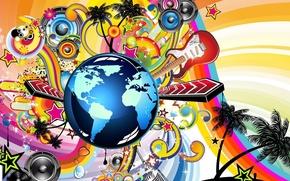 Картинка цвета, мир, Музыка, арт, инструмент