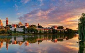 Картинка лето, небо, облака, свет, отражения, город, Москва, Август, Новодевичий Богородице-Смоленский монастырь