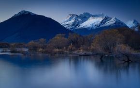 Обои отражение, горы, деревья, озеро, ночь, небо, синий, звезды