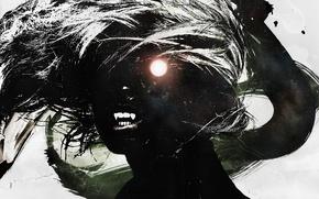 Картинка девушка, волосы, рисунок, тень, силуэт, вампир, vhm-alex, dracula wedding