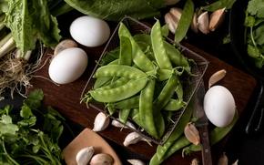 Обои петрушка, яйца, горох, зеленый, чеснок, салат