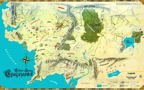 Картинка карта, Дж. Р. Р. Толкин, The Lord of the Rings, John Ronald Reuel Tolkien, Средиземье