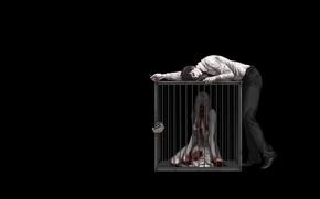 Картинка пустота, замок, тьма, кровь, жертва, клетка, маньяк, псих