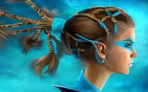 Картинка girl, art, blue eyes, ears, hairstyle