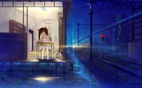 Картинка девушка, ночь, дом, стол, дождь, арт, светофор, железная дорога, сидя, haraguroi you