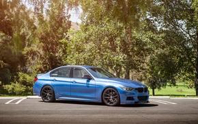 Картинка BMW, wheels, Vorsteiner, blue, 328i, f30, frontside