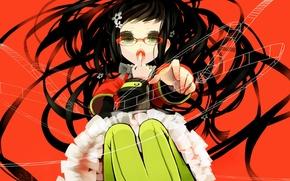Картинка красный, фон, волосы, очки, Девочка, сидит, жест, длинные