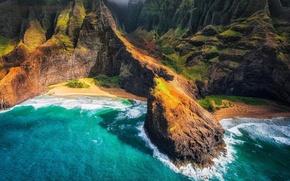 Картинка горы, океан, остров, панорамма, Гаваи