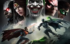 Обои улыбка, batman, superman, joker, green lantern, flash, Wonder women, Injustice: Gods Among Us