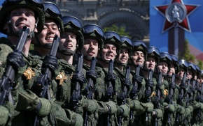 Картинка праздник, день победы, солдаты, парад, красная площадь