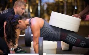 Картинка women, crossfit, weight, push-ups, fitness, sportswear