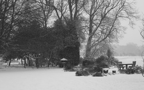 Картинка зима, снег, деревья, стол, стулья, красота, площадка, Winter blanket