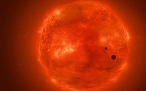 Картинка солнце, космос, звезда, планеты, силуэт, арт, жар