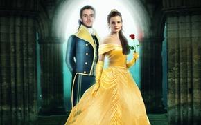 Обои костюм, фэнтези, роза, красотка, красная, Belle, желтое платье, Красавица и чудовище, Beauty and the Beast, ...