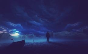 Картинка ночь, человек, зонт, арт