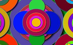 Картинка цвета, круги, фигуры, разные