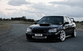 Картинка turbo, wheels, subaru, black, japan, wrx, impreza, jdm, tuning, power, front, субару, sti, face, импреза, …