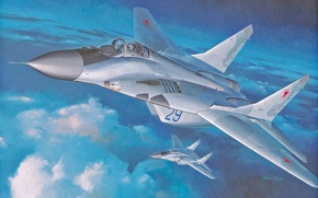 Картинка МиГ, арт, опоры, самолет, точка, советский, ВВС, МиГ-29, ОКБ, российский, многоцелевой, РФ., четвертого, истребитель, поколения, ...