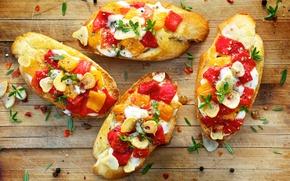 Картинка перец, помидоры, овощи, тосты, бутерброды, cheese, tomato, хлеб, зелень, кусочки, специи, pepper