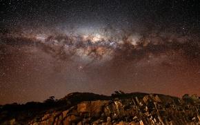 Обои звезды, скалы, Млечный путь, галактика, rocks, stars, Milky Way galaxy