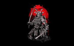 Обои кровь, доспехи, мечи, самурай