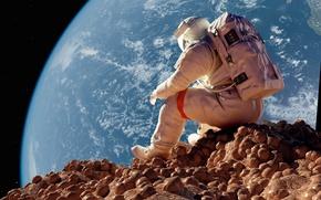 Обои камни, сидит, Земля, астронавт, astronaut, ситуация, Луна, космонавт